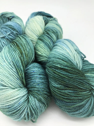 Seabreeze - Hand Dyed Fingering - 3 PLY - 80/20 SW Merino/ Nylon in green and blue for crochet and knitting, toques, shawls, sock yarn