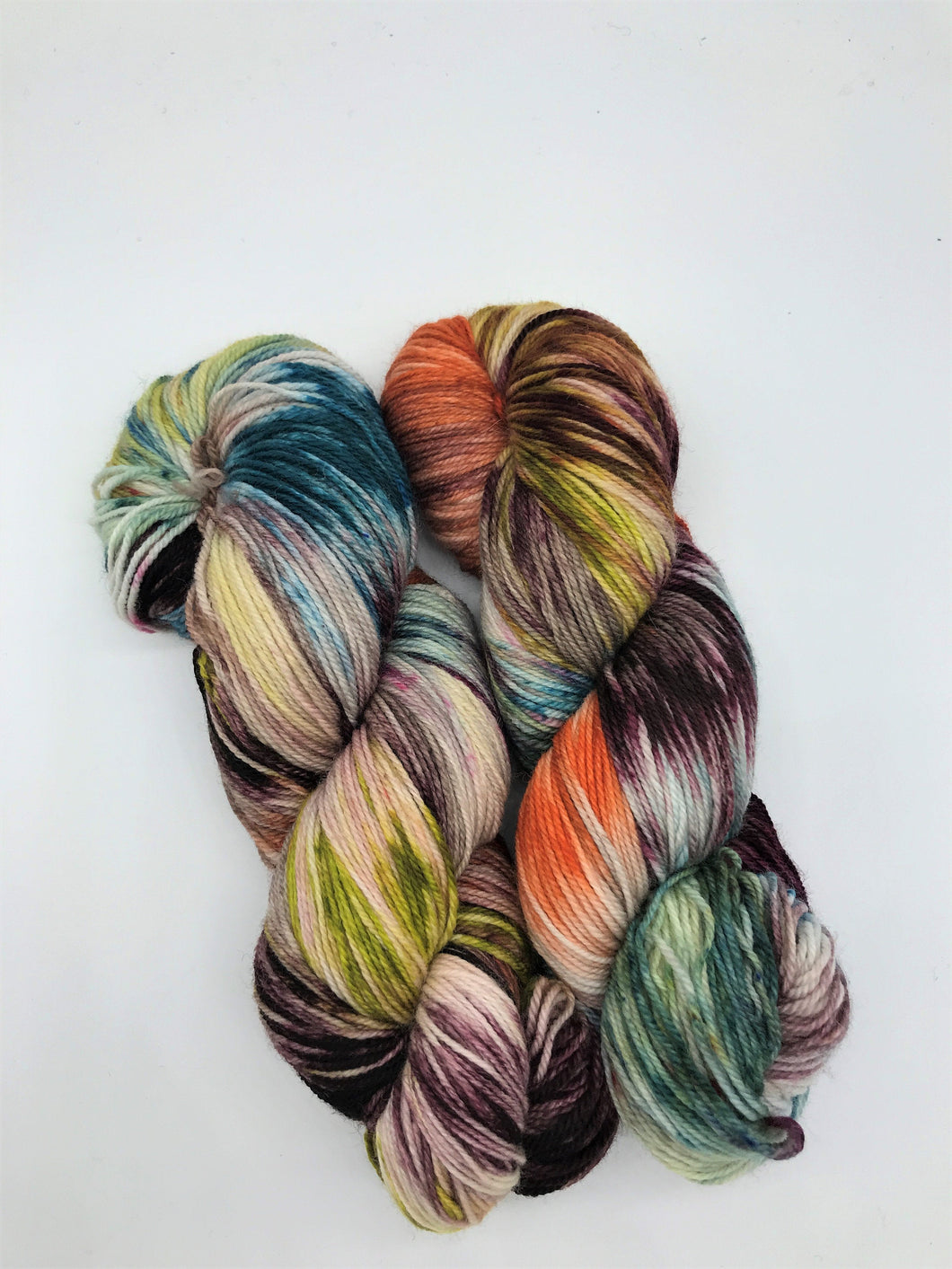 Snake Charmer - Hand Dyed Fingering - 3 PLY - 80/20 SW Merino/ Nylon in multi colour for crochet and knitting, toques, shawls, sock yarn
