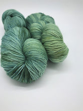 Load image into Gallery viewer, Seabreeze - Hand Dyed Fingering - 3 PLY - 80/20 SW Merino/ Nylon in blue and green for crochet and knitting, toques, shawls, sock yarn