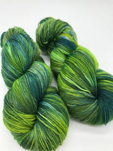 Load image into Gallery viewer, Forest Floor - Hand Dyed Fingering - 3 PLY - 80/20 SW Merino/ Nylon in greens for crochet and knitting, shawls, sock yarn