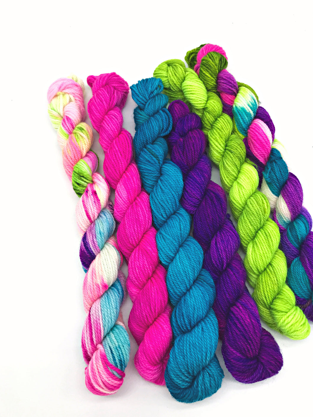Mini Yarn 6 Pack - I'm losing my mind - Fingering 80/20 Merino and Nylon - For knitting, crochet and other fibre arts