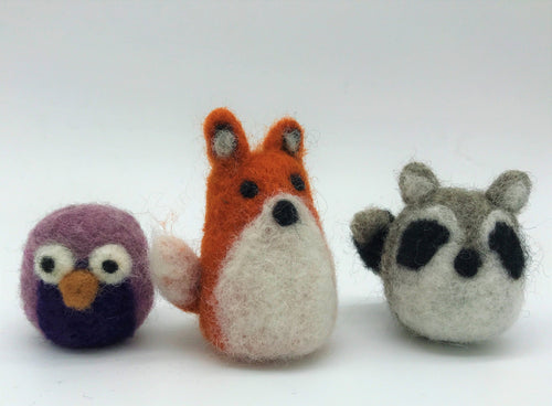 Needle Felted Woodland Animal kit - Wool and Instructions ONLY - Makes a fox, raccoon and owl - and great for kids and adults