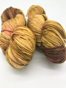 The End of Fall - Hand Dyed Fingering -  - 3 PLY - 80/20 SW Merino/ Nylon in gold, brown, green and a hint of pink for knitting and Crochet