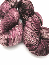 Load image into Gallery viewer, Mauvelous - Hand Dyed Fingering - 3 PLY - 80/20 SW Merino/ Nylon in mauve purple for crochet and knitting, toques, shawls, sock yarn