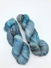 Load image into Gallery viewer, Traveler - Hand Dyed Fingering - 3 PLY - 80/20 SW Merino/ Nylon in blues, grey and black for crochet and knitting, toques, shawls, sock yarn