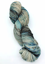Load image into Gallery viewer, Ice Fields - Hand Dyed Fingering - 3 PLY - 80/20 SW Merino/ Nylon in blue and ecru for crochet and knitting, shawls, sock yarn