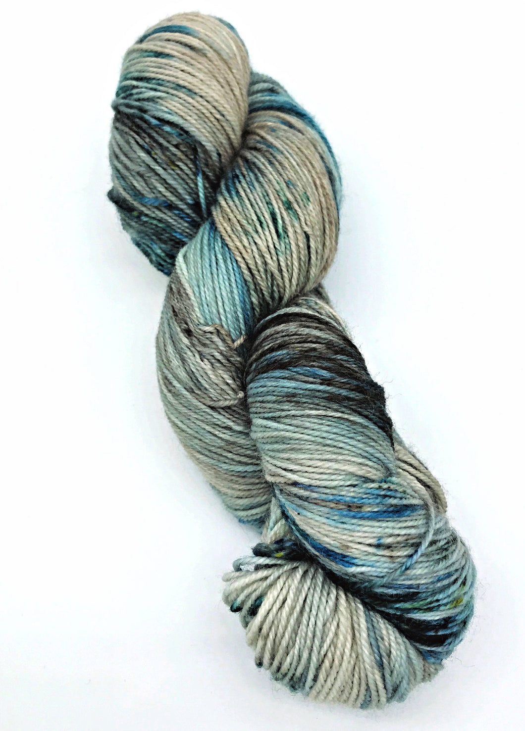 Ice Fields - Hand Dyed Fingering - 3 PLY - 80/20 SW Merino/ Nylon in blue and ecru for crochet and knitting, shawls, sock yarn