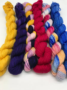 Mini Yarn 6 Pack - Space Boy - Fingering 80/20 Merino and Nylon - For knitting, crochet and other fibre arts