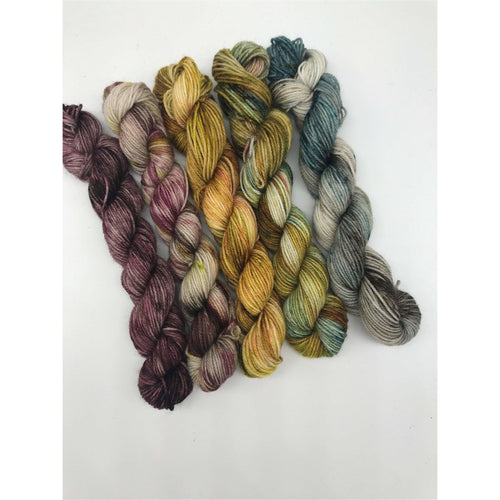 Mini Yarn 5 Pack - Mother Earth - Fingering 80/20 Merino and Nylon - For knitting, crochet and other fibre arts