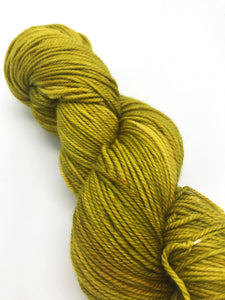 Mustard - Hand Dyed Fingering - 3 PLY - 80/20 SW Merino/ Nylon in green and purple for crochet and knitting, toques, shawls, sock yarn