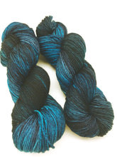 Load image into Gallery viewer, Dark Days - Hand Dyed Fingering - 3 PLY - 80/20 SW Merino/ Nylon in teal and blue for crochet and knitting, toques, shawls, sock yarn
