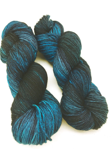 Dark Days - Hand Dyed Fingering - 3 PLY - 80/20 SW Merino/ Nylon in teal and blue for crochet and knitting, toques, shawls, sock yarn