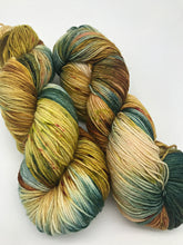Load image into Gallery viewer, Mossy Knoll- Hand Dyed Fingering - 3 PLY - 80/20 SW Merino/ Nylon in blue, brown, yellow/green and sage for knitting and Crochet