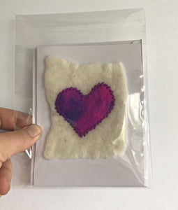 Wet Felted and stitched heart cards