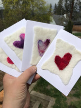 Load image into Gallery viewer, Wet Felted and stitched heart cards - Made with 100% hand dyed Merino wool, embroidery thread and a paper card