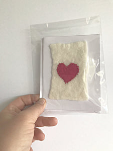 Wet Felted and stitched heart cards - Made with 100% hand dyed Merino wool, embroidery thread and a paper card