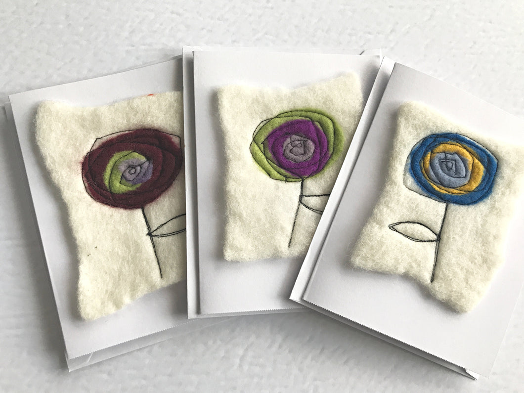 Wet Felted flower card - Made with 100% Merino wool.  Great for birthdays, mothers day, valentines day or front line worker