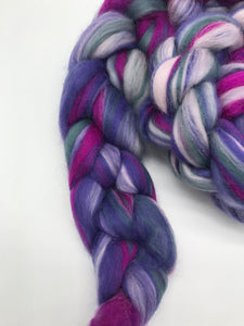 Crushed - Blended 100% Merino Top - For Spinning and Felting in Purple, Magenta, light pink and grey