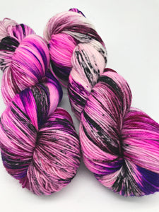 Butterfly Tornado - Hand Dyed Fingering - 3 PLY - 80/20 SW Merino/ Nylon in pinks and purple for crochet and knitting, toques, shawls, socks