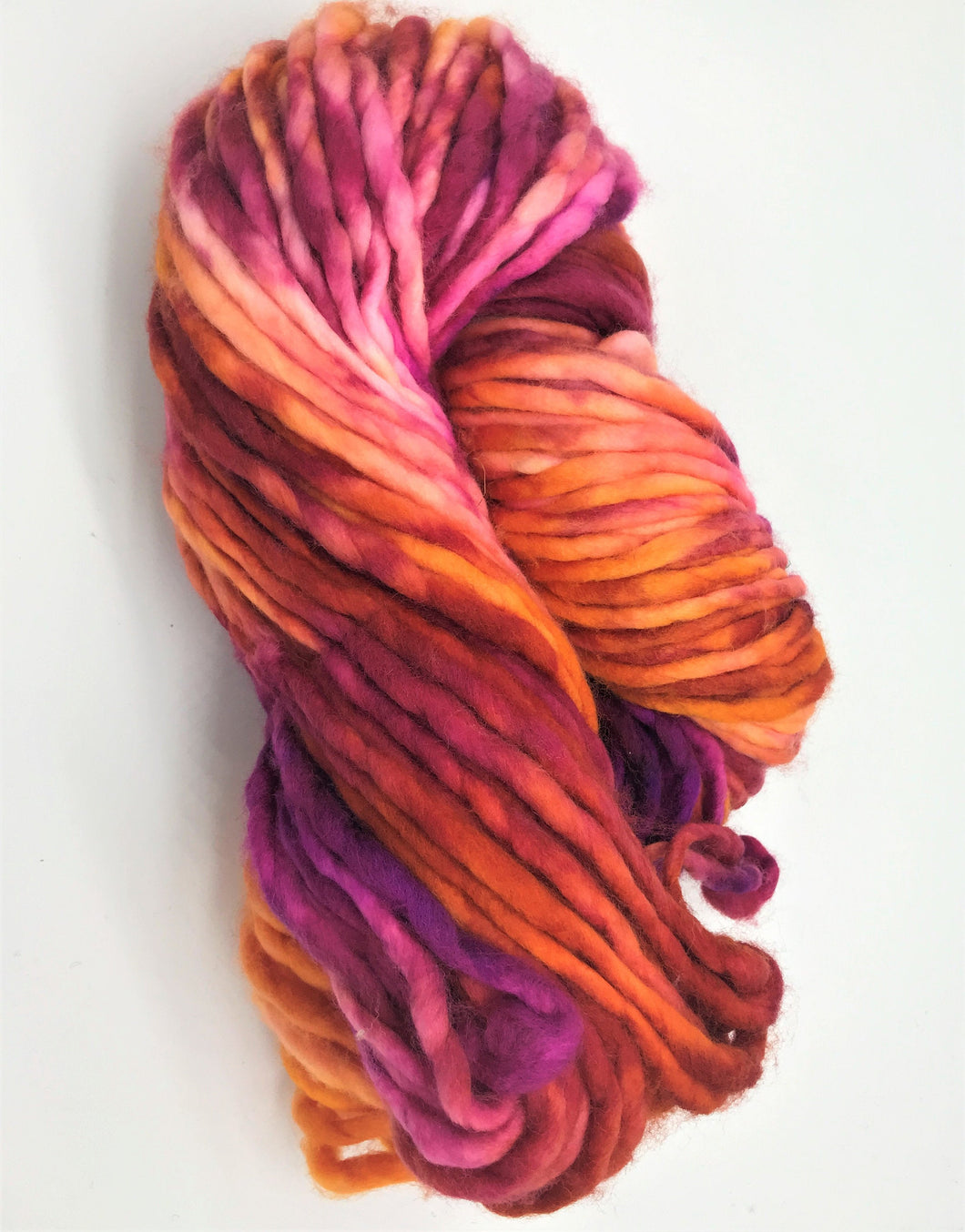 Sunset Beach - Super Chunky 100% Merino Yarn - 126 Yards for knitting shawls, toques and scarves in Pink, orange and purple