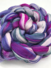 Load image into Gallery viewer, Crushed - Blended 100% Merino Top - For Spinning and Felting in Purple, Magenta, light pink and grey