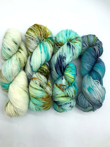 Whisper Ridge - Hand Dyed Fingering - SW 3 PLY 80/20 Merino and Nylon in Greens and Blues - knitting and crochet yarn - sock yarn