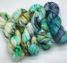 Load image into Gallery viewer, The great outdoors - Fade Kit - Hand Dyed Fingering - SW 3 PLY 80/20 Merino and Nylon in Greens and Blues - sock, knitting and crochet yarn