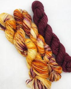 Autumn Colours kit - Hand Dyed Fingering - SW 3 PLY 80/20 Merino and Nylon in Orange and Maroon - sock, knitting and crochet yarn
