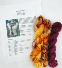 Load image into Gallery viewer, Autumn Colours kit - Hand Dyed Fingering - SW 3 PLY 80/20 Merino and Nylon in Orange and Maroon - sock, knitting and crochet yarn