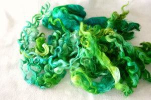 BRIGHT GREEN - Hand Dyed Teeswater Locks in Chartreuse, Emerald Green and Bright Green
