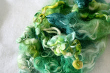 Load image into Gallery viewer, EMERALD ISLE - Hand Dyed Teeswater Locks in light shades of green and blue