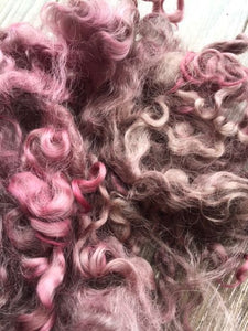 Country Berry - Hand Dyed 5-7 inch Teeswater Locks in Mauves and Soft Purples for Tail Spinning, Dolls hair or Felting