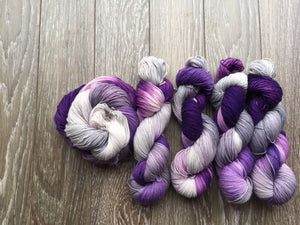 Garlic Scape - Hand Dyed Fingering - Superwash Merino and Nylon - 3 PLY in Dark Purple, Light Purple and Light Grey