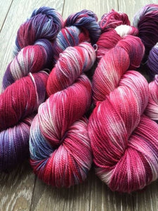 Cranberry Zing - Hand Dyed and Hand Painted Fingering - Superwash Merino and Nylon - 2 PLY in Blues, Purples and Reds