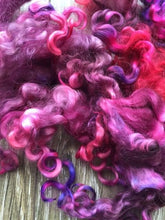 Load image into Gallery viewer, Calypso - Hand Dyed 5-7 inch Teeswater Locks in Bright Magenta and Purple for Tail Spinning, Dolls hair or Felting