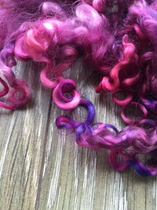 Calypso - Hand Dyed 5-7 inch Teeswater Locks in Bright Magenta and Purple for Tail Spinning, Dolls hair or Felting