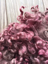 Load image into Gallery viewer, Country Berry - Hand Dyed 5-7 inch Teeswater Locks in Mauves and Soft Purples for Tail Spinning, Dolls hair or Felting
