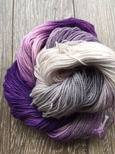 Load image into Gallery viewer, Garlic Scape - Hand Dyed Fingering - Superwash Merino and Nylon - 3 PLY in Dark Purple, Light Purple and Light Grey