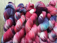Load image into Gallery viewer, Cranberry Zing - Hand Dyed and Hand Painted Fingering - Superwash Merino and Nylon - 2 PLY in Blues, Purples and Reds
