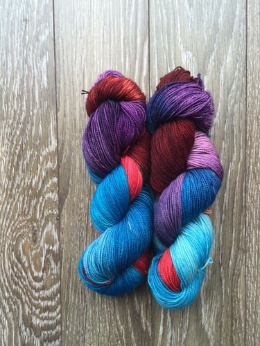 Tri Berry Souffle - Hand Dyed Fingering - Superwash Merino and Nylon - 3 PLY in Dark Red, Purple and Blue