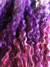 Load image into Gallery viewer, Chantily Lace - Hand Dyed 10 - 12 inch Teeswater Locks in Mauve, Purple and Dark Pink for Tail Spinning, Dolls hair or Felting
