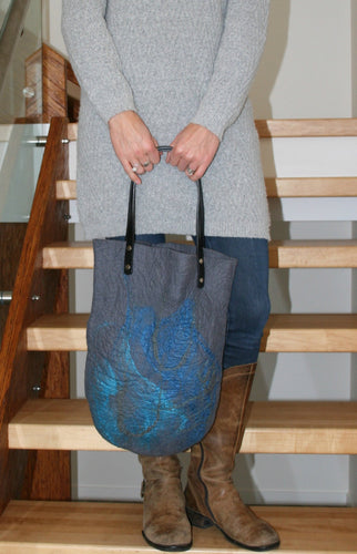 Grey Merino Wool and Silk Wet Felted Purse