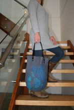 Load image into Gallery viewer, Grey Merino Wool and Silk Wet Felted Purse