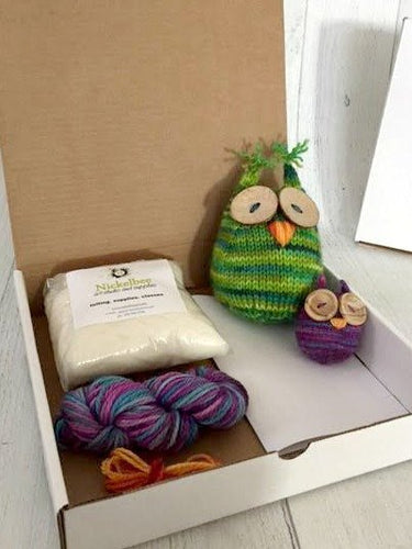 Large Wee Hoot Owl Knitting Pattern and all the supplies needed - Hand Dyed Yarn, Wool stuffing, great gift idea - Chunky Yarn