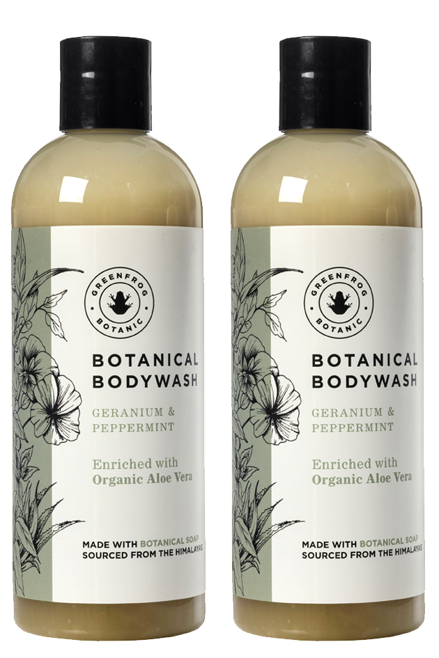 Natural Body Wash Gift Twin Set - 300ml Geranium & Peppermint