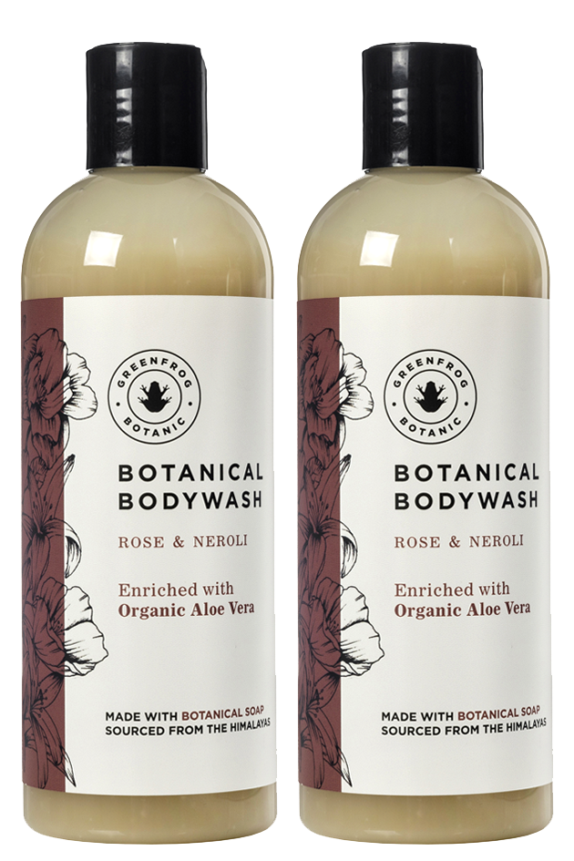 Natural Body Wash Gift Twin Set - 300ml Rose & Neroli