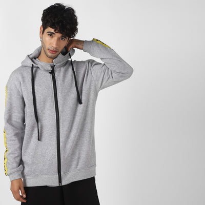 BADFIT GREY CRIME SCENE HOODIE WITH ZIPPER