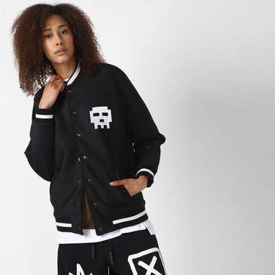 BLACK AND WHITE DIGITAL SKULL JACKET