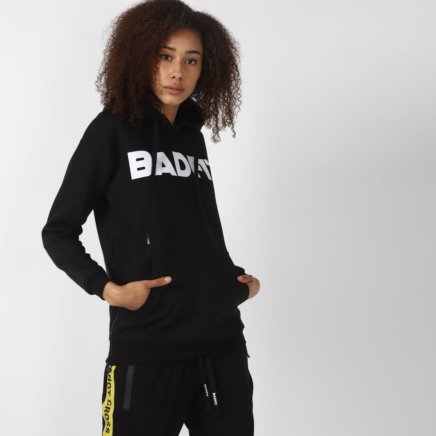 BADFIT BLACK HOODIE WITH ZIPPERS