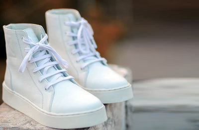 BADFIT BOMBER SHOE: White Milled Leather